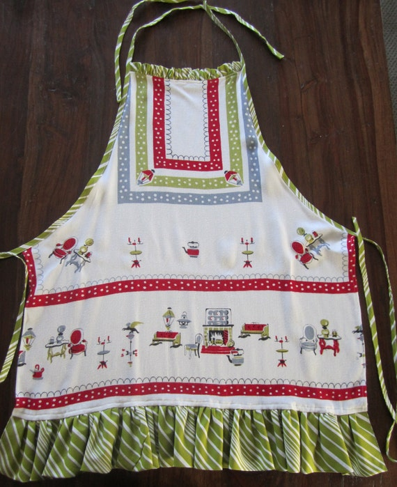 Christmas OOAK APRON from mid century Tablecloth