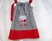 Alabama Roll Tide Elephant Applique Houndstooth Pillowcase Dress Personalized  12M - Size 8.