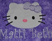 Quilted  Applique Hello KittyPurple  Nap Mat for Daycare Mother's Day Out Preschool or Kindergarten  You choose fabric