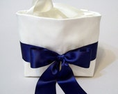 Light Ivory Silk Petal Purse with a Navy Blue Sash and Bow