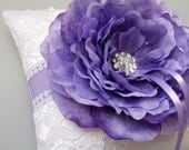 Lavender and White Venice Lace Ring Bearer Pillow