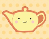 1.25 inch Yellow Teapot Button/Magnet