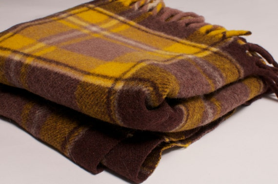 Wool Mustard and Brown Plaid Throw