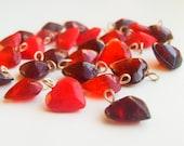 Glass Beads Heart Red 12 mm - 25 pcs