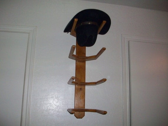 cowboy western hat rack wall mount for 4 hats by bormanrrranch