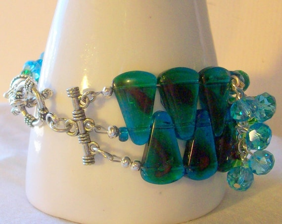 Cuff  Bracelet in Ocean Blue and Emerald Green A Little Cha Cha   Free Shipping in the USA