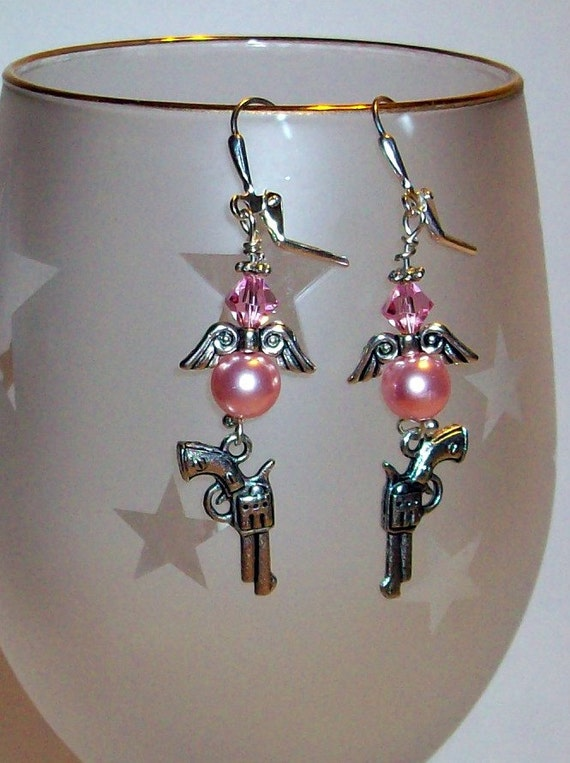 Cowgirl Pink Pearl Angel and Pistol Earrings   Free Shipping in USA and Canada