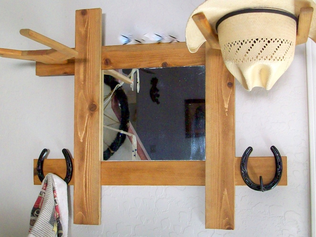 Cowboy Hat Rack With Mirror And Hooks Wall Mount Hall