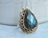 VINTAGE FIND, sterling silver labradorite ring with faceted top size 7.25