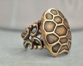 The GOOD LUCK TURTLE, antiqued brass  turtorise shell ring