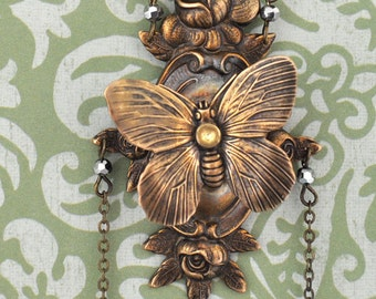 ENCHANTED FOREST, butterfly necklace, garden and flowers, floral necklace antiqued brass, long chain