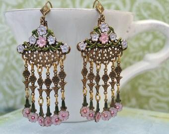 GYPSY antique brass floral vintage earrings with Swarovski rhinestones