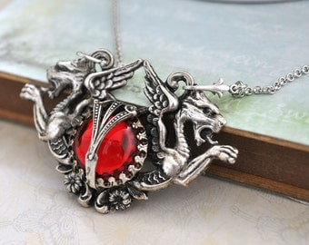 THE GATE GUARDIANS, antique silver griffin necklace with vintage ruby red Swarovski glass cab