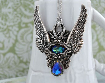 THE PHOENIX antiqued silver necklace with rare smoke topaz vintage glass jewels