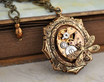 steampunk necklace - TIME TRAVELER - vintage gold color watch movement necklace with tiny dragonfly