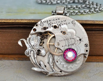 LOVE TAKES TIME steampunk vintage year 1889 Waltham pocket watch movement necklace with iris flower and  Swarovski rhinestone
