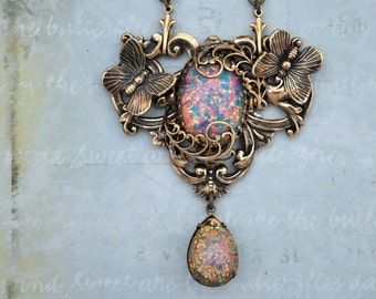 DOOR To The SECRET GARDEN antiqued brass pendant with vintage pink fire opal glass cabs