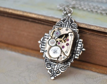 ART DECO antique silver art deco style steampunk vintage watch movement necklace