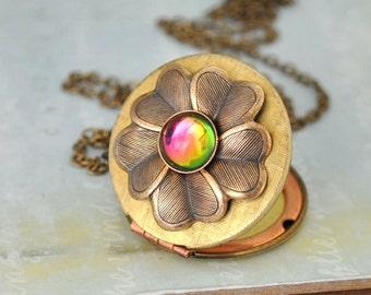 THE FOREST LOCKET vintage brass floral locket neckkace with vintage rainbow color Swarovski glass cab