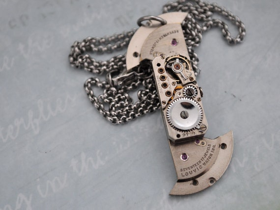 SPINNER, antique silver steampunk Waltham watch movement necklace with surgical steel rolo chain