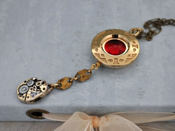 THE TIME KEEPER antique gold tone vintage watch casing steampunk watch movement necklace with vintage red glass cab