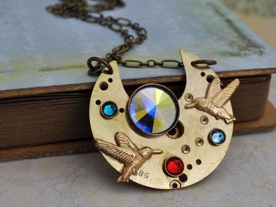 ENCHANTED FOREST,  antiqued brass vintage pocket watch movement necklace with sparkling Swarovski rhinestones