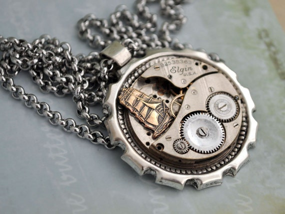 JOURNEY till end of Time, steampunk Elgin pocket watch movement necklace in antique silver with surgical steel rolo chain