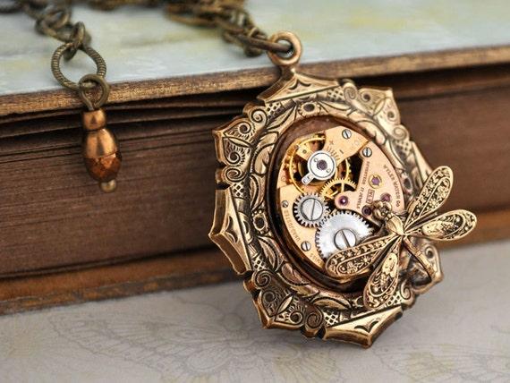 steampunk necklace time traveler vintage gold color watch. Black Bedroom Furniture Sets. Home Design Ideas
