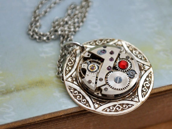 TIMELESS SPARKLE steampunk vintage petite watch movement necklace in antique silver