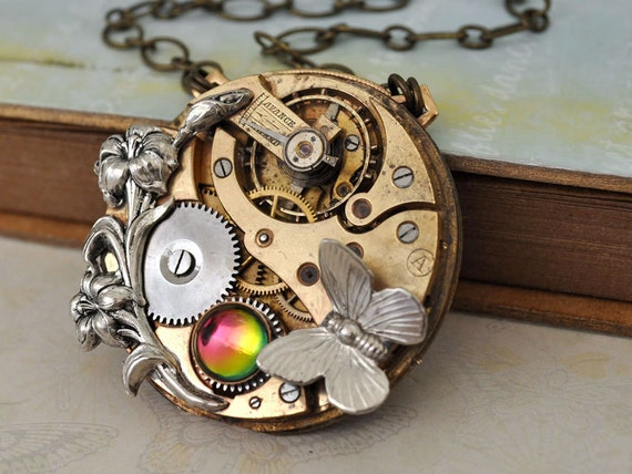 LOVE TAKES TIME antiqued brass jeweled vintage pocket watch movement necklace with Iris and Swarovski rhinestone