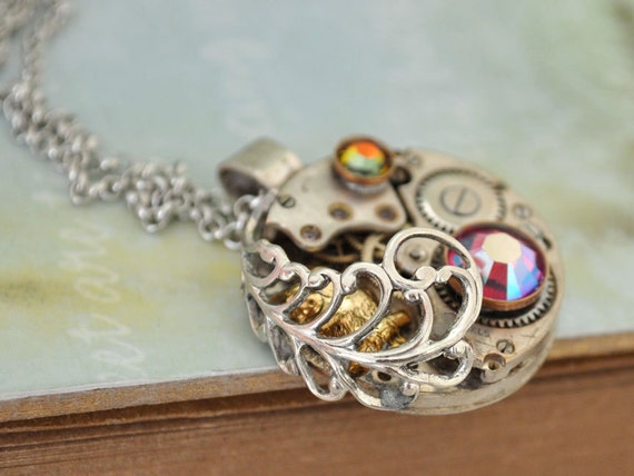 steampunk necklace - TIMELESS LOVE - baby owl necklace with vintage watch movement