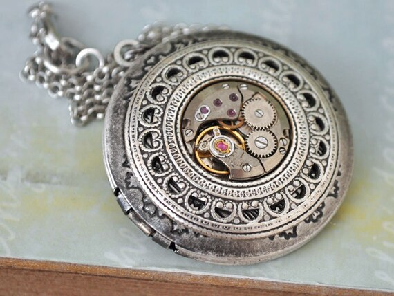 TIME TRAVELER antique silver steampunk vintage jeweled watch movement locket necklace