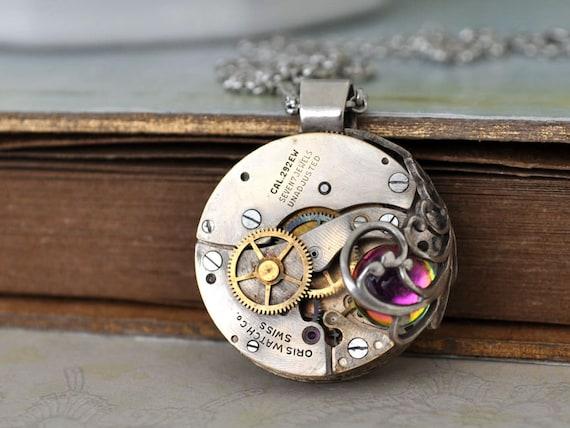 ANGEL'S NEST steampunk vintage Oris watch movement necklace with Swarovski ball cab