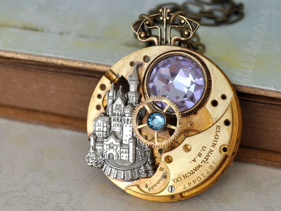 ONCE UPON a TIME steampunk vintage brass Elgin pocket watch movement necklace with castle and Swarovski Alexandrite glass cab