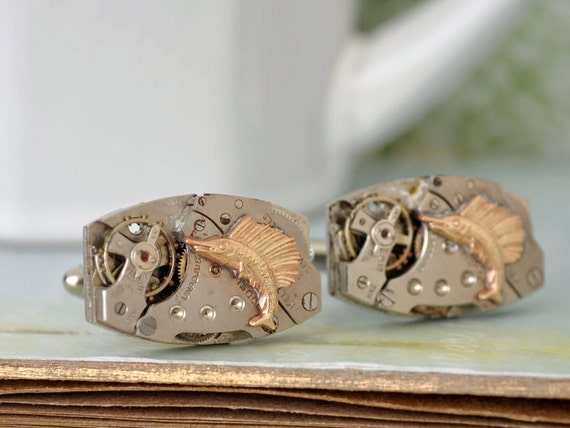 TIME To GO FISHING steampunk vintage 7 jeweled watch cufflinks No. 12