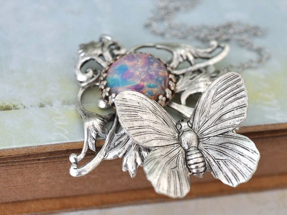 ENCHANTED FOREST antiqued silver Victorian style floral necklace with butterfly and vintage pink opal glass cab