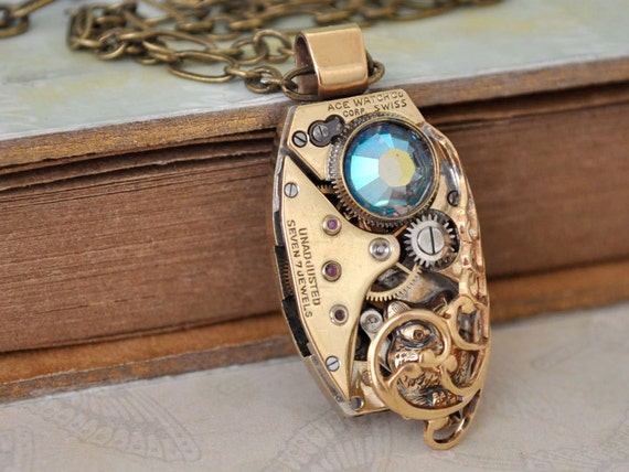 TIMELESS LOVE steampunk baby owl necklace with vintage jeweled watch movement and Swarovski rhinestone