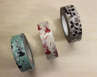 Message birds - Masking tape - set of 3 - 15mmW - Made in Japan