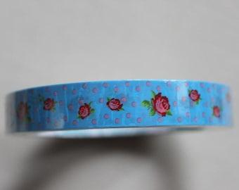 Mini tape - Rose  Dot Blue - Decorative packing tape 15mm - Japanese craft