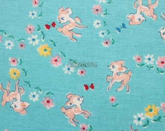 Cute bambi - Old new fabric collection - Turquoise by Lecien - Printed in Japan