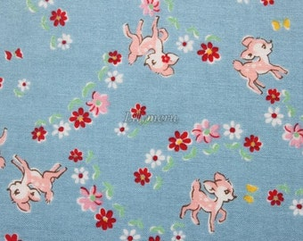 Cute bambi - Old new fabric collection  - Blue by Lecien - Printed in Japan