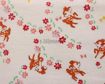 Cute bambi - Old new fabric collection - Ivory pink by Lecien