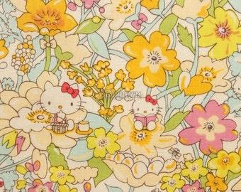 Liberty tana lawn - Kirstie Hello Kitty printed in Japan - Yellow mix
