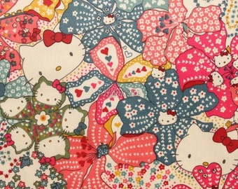 Liberty tana lawn - Mauvey Hello Kitty printed in Japan - Dark pink mix
