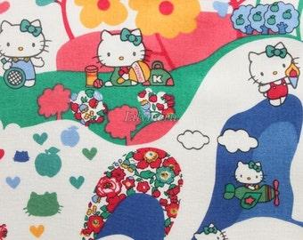 Liberty tana lawn - Mim  Hello kitty printed in Japan -  Green mix