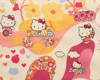 Liberty tana lawn - Mim Hello Kitty printed in Japan - Orange mix
