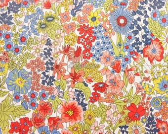Liberty tana lawn printed in Japan - Margaret Annie - Orange mix