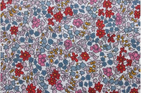 Liberty tana lawn printed in Japan -  Emilia's flowers - Orange mix