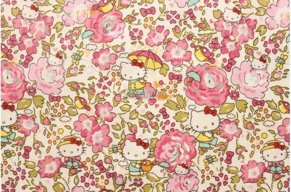 Liberty tana lawn - Felicite Hello Kitty printed in Japan - Pink mix