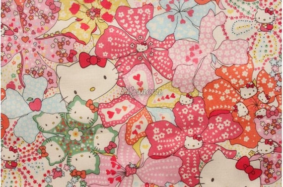 Liberty tana lawn - Mauvey Hello Kitty printed in Japan - Light pink mix